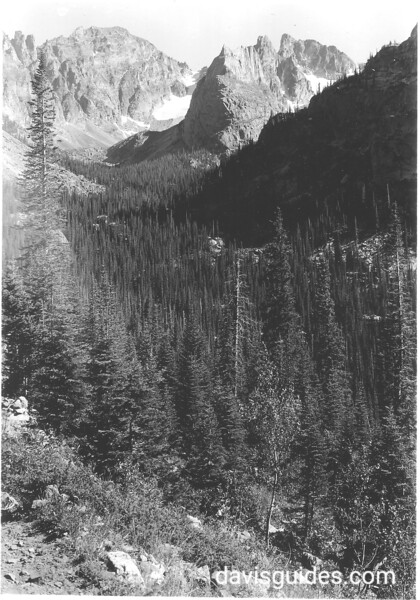 Lindbergh Peak from Pawnee Pass Trail, showing the Fair and Peck Glaciers. Rocky Mountain National Park, 1938.
