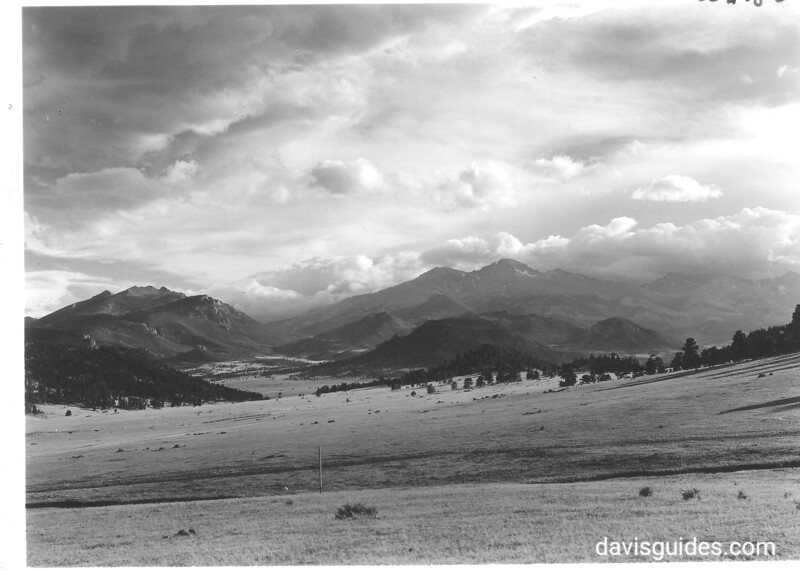 Twin Sisters and Long's Peak from summit of Devil's Gulch Road. Rocky Mountain National Park, 1938.