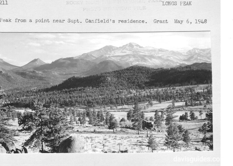 Long's Peak from a point near Superintendent David Canfield's residence. Rock Mountain National Park, 1948.