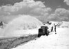 CCC enrollees clearing snow from Trail Ridge Road, Rocky Mountain National Park, 1933.