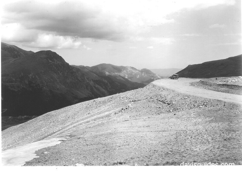 The curve at Iceberg Lake. Fall River in the distance. George Grant's panel truck in the distance for scale. Rocky Mountain National Park, 1930.