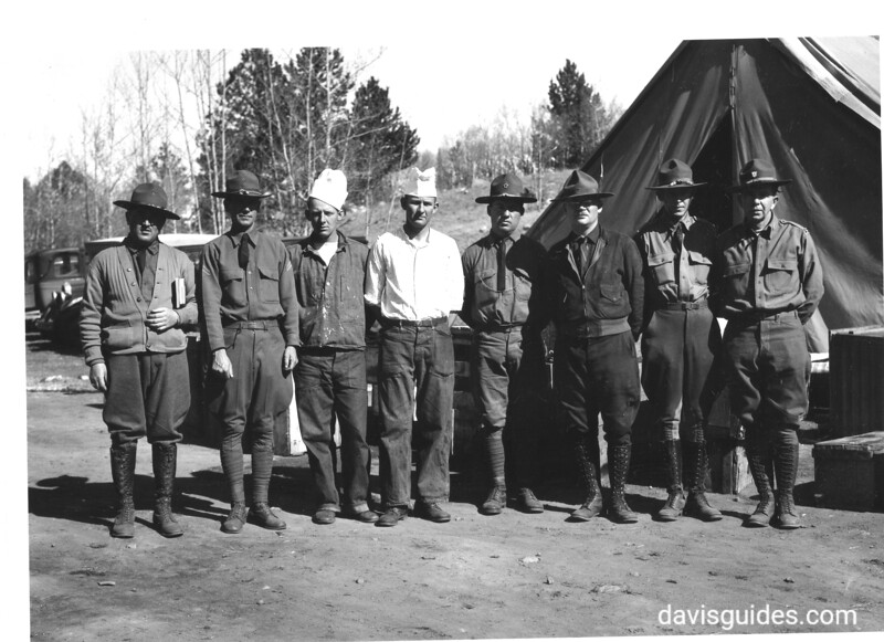 CCC officers at Little Horseshoe Camp, Rocky Mountain National Park, 1933.