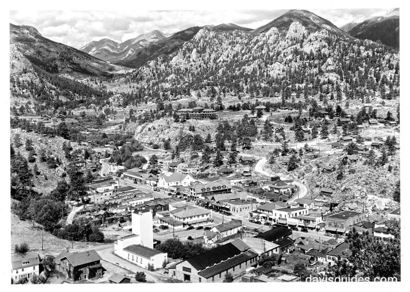 Village of Estes Park, Colorado, from Little Prospect Mountain, outside Rocky Mountain National Park. Rocky Mountain National Park, 1938.