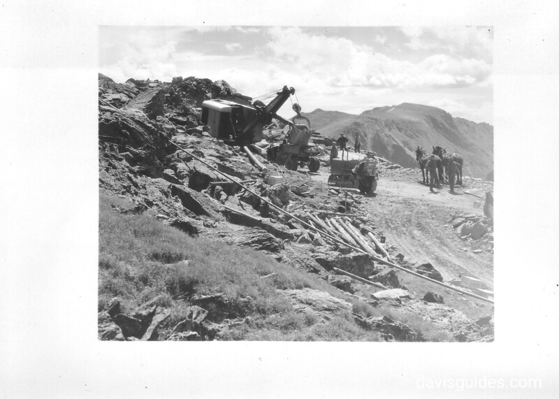 Construction work on Trail Ridge Road. Rocky Mountain National Park, 1932.
