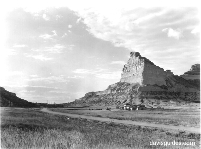 Mitchell Pass and the National Park Service headquarters and museum. Scotts Bluff National Monument, 1938