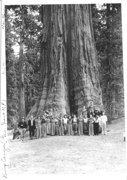 Group posing at base of the General Grant Tree. General Grant National Park (now Sequoia and Kings Canyon National Parks), 1936.