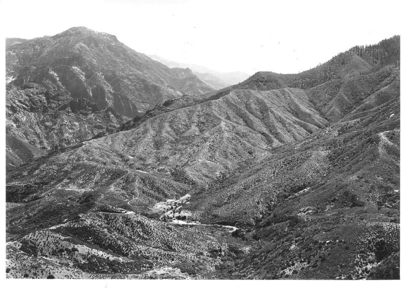 South Fork of Kings River Canyon from the new highway east of General Grant Grove. Sequoia and Kings Canyon National Parks, 1940.