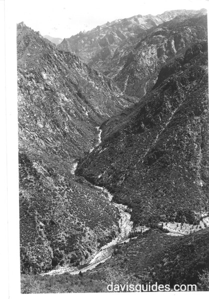 Junction of Middle Fork and South Fork of Kings River. View is up Middle Fork with South Fork on the right. Sequoia and Kings Canyon National Parks, 1940.