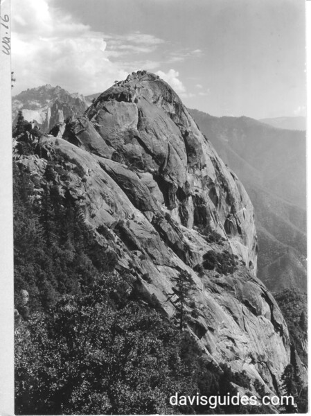 Vertical view of Morro Rock from north side. Castle Rocks in the distance. Sequoia and Kings Canyon National Parks, 1929.