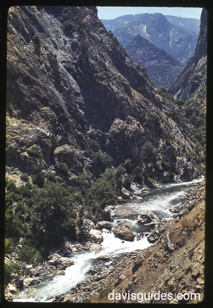 1940 color Kodachrome 35mm slide of Kings Canyon National Park's south fork of Kings River photographed by National Park Service photographer George A. Grant.