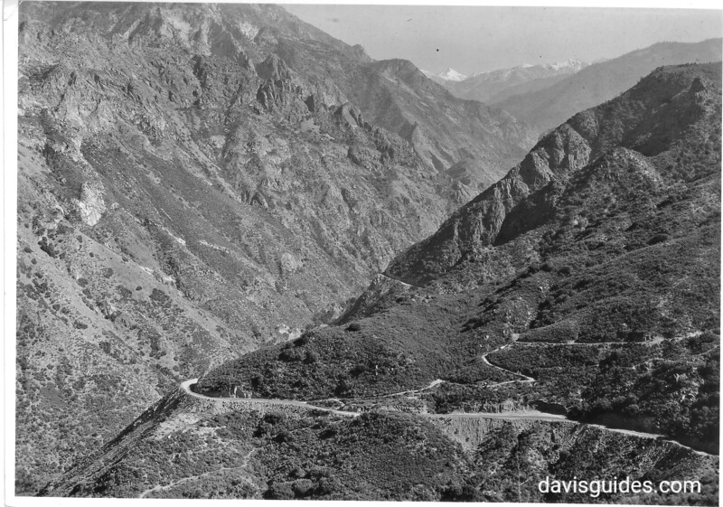 Highway going up the south fork of Kings River. General Grant National Park (now Sequoia and Kings Canyon National Parks), 1936.