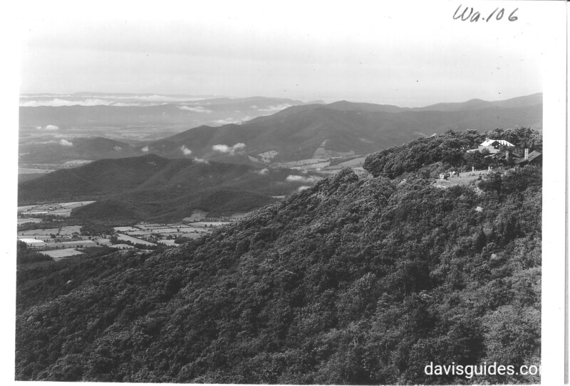 View north along the Blue Ridge from Skyline Drive. Skyland on right. Shenandoah National Park, 1936.