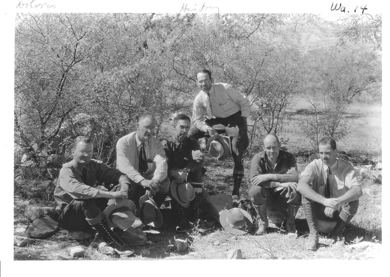 Members of the NPS expedition team. Left to right: Robert Rose, George Grant, Leffler Miller, J. Howard Tovrea, Arthur Woodward, and Scofield DeLong. Sonora Missions Expedition, 1935.