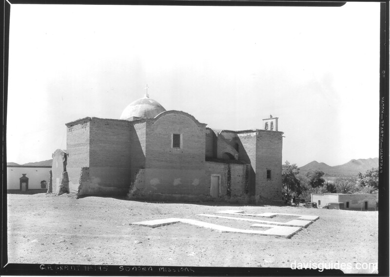 Exterior from the rear showing remnants of adjoining buildings, Mission San Diego del Pitiquito. Sonora Missions Expedition, 1935.