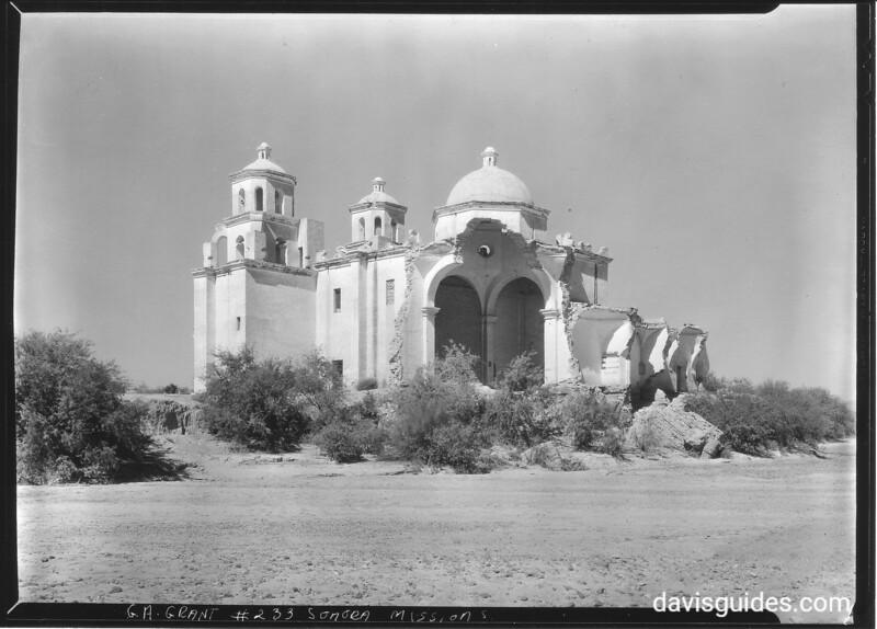 Flood damage, southeast view from the river bed, Mission Nuestra Senora del la Concepcion de Caborca. Sonora Missions Expedition, 1935.