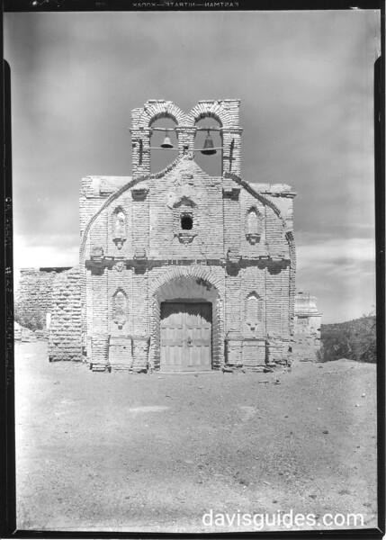 Façade of Mission San Antonio de Oquitoa. Sonora Missions Expedtion, 1935.