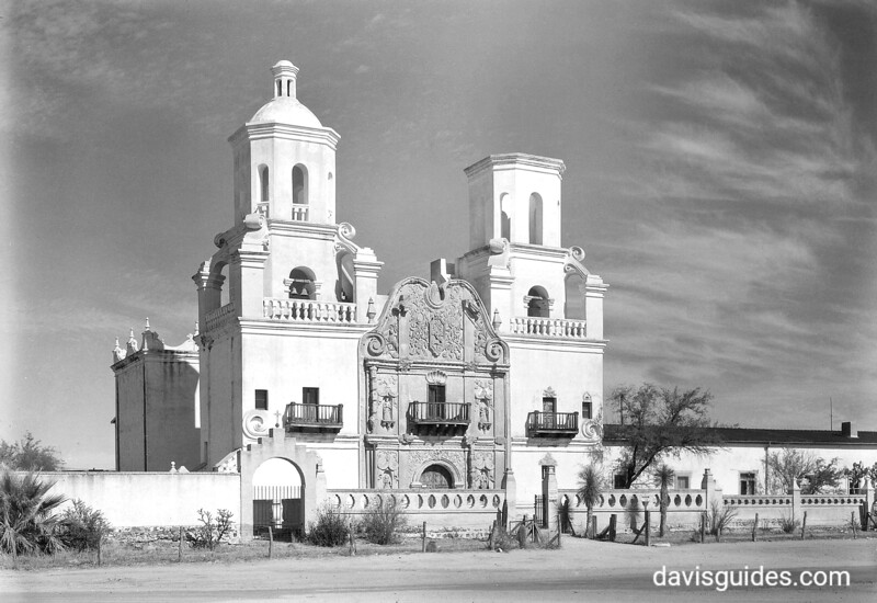 Mission San Xavier del Bac. Regarded as one of the most beautiful mission churcnes in the United States. Sonora Mission Expedition, 1935.