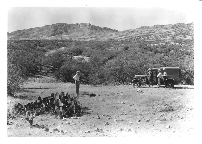 Members of the NPS Sonora Mission Expedition with George Grant's panel truck. Site is near foundation ruins of Mission Nuestra Senora de los Dolores. Sonora Missions Expedition, 1935.