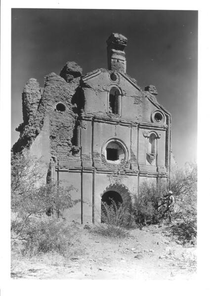 The front, or facades, pf Cocospera Mission. The building faces west.  Sonora Mission Expedition, 1935.