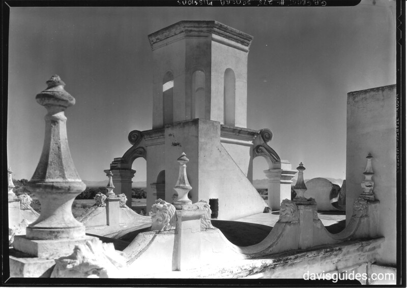Detail of rooftop, Mission San Xavier del Bac. Sonora Mission Expedition, 1935.