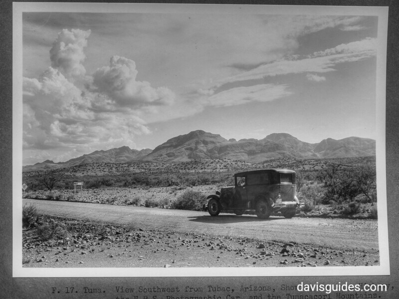 View southwest from Tubac, Arizona, showing the main highway, the NPS photographic car and the Tumacacori Mountains. Tumacacori National Historical Park, 1929.