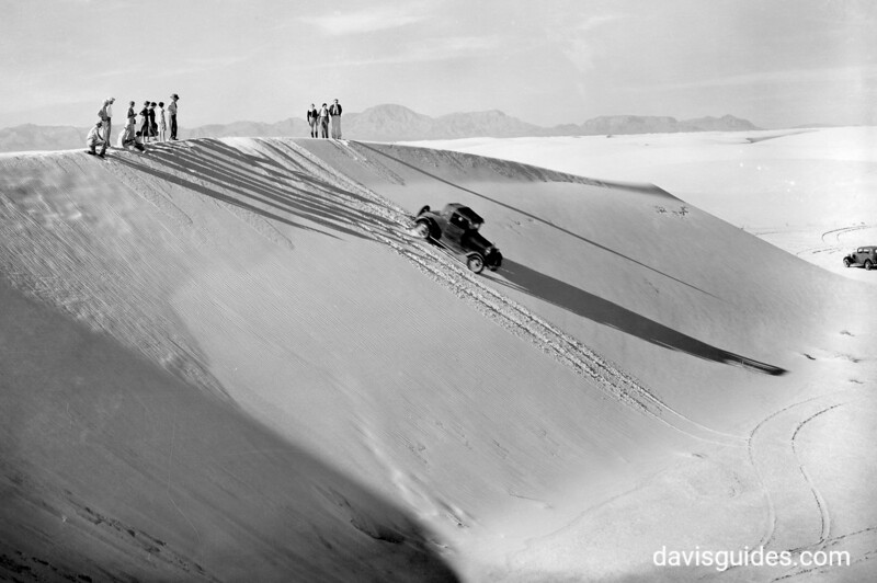 The leeward slopes are always the steepest and afford opportunities for sliding and auto coasting. White Sands National Monument, 1934.