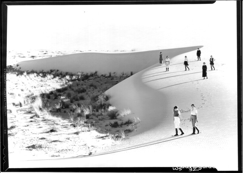 Strolling on top of the dunes. White Sands National Monument, 1934.