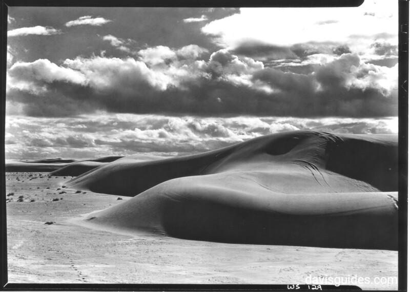 Pure gypsum dunes encroaching on the flats. White Sands National Monument, 1936.