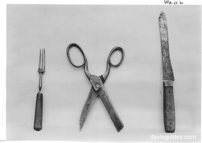 Fork, scissors, and knife associated with the Whitman Mission. Now in the museum collection of Whitman College in Walla Walla, Washington. Whitman Mission National Historic Site, 1941.