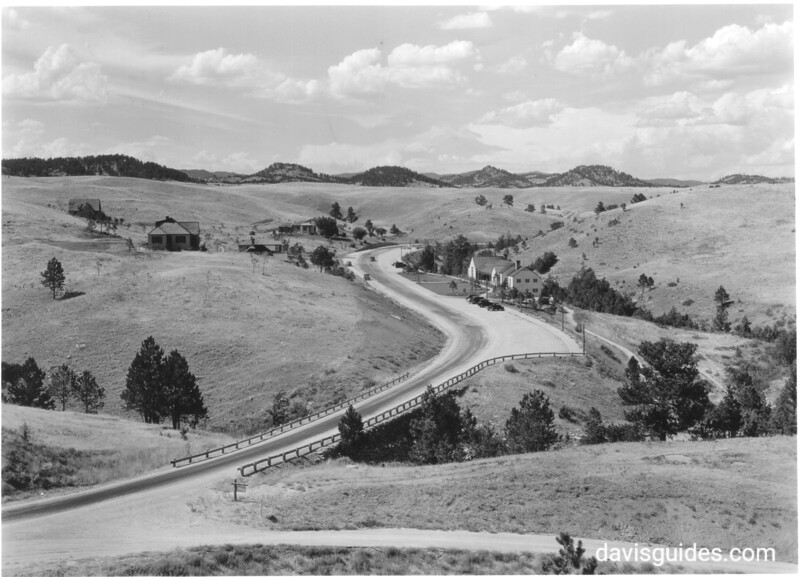 A view showing the main highway and the Administration Building. Wind Cave National Park, 1936.
