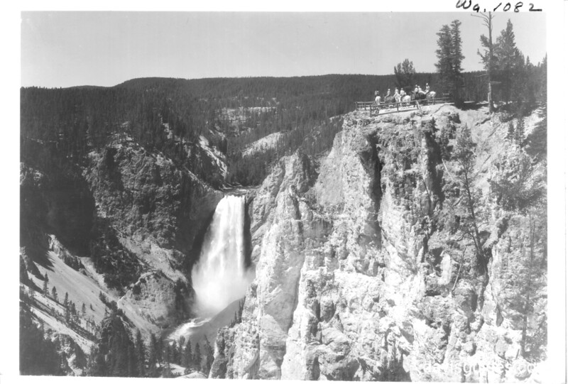 Horseback party at Point Lookout viewing Yellowstone Falls. Yellowstone National Park, 1933.