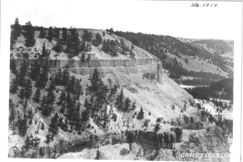 View of Yellowstone River from hill beyond Tower Falls showing profile across river and lines of columnar basalt. Yellowstone National Park, 1933.