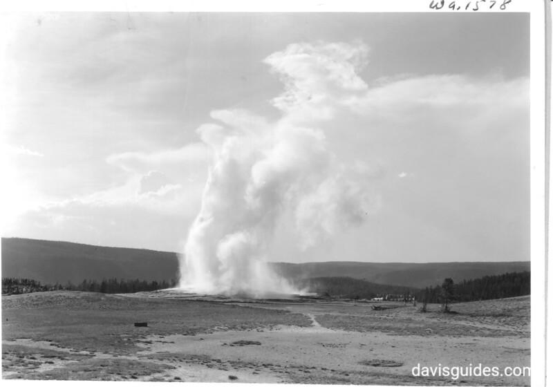 Old Faithful Geyser erupting. Yellowstone National Park, 1939.