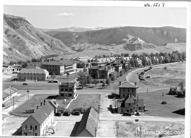View toward the utility area and employee quarters from the hill behind the hotel, showing the new post office  and other improvements, Mammoth Hot Springs area. Yellowstone National Park, 1939.