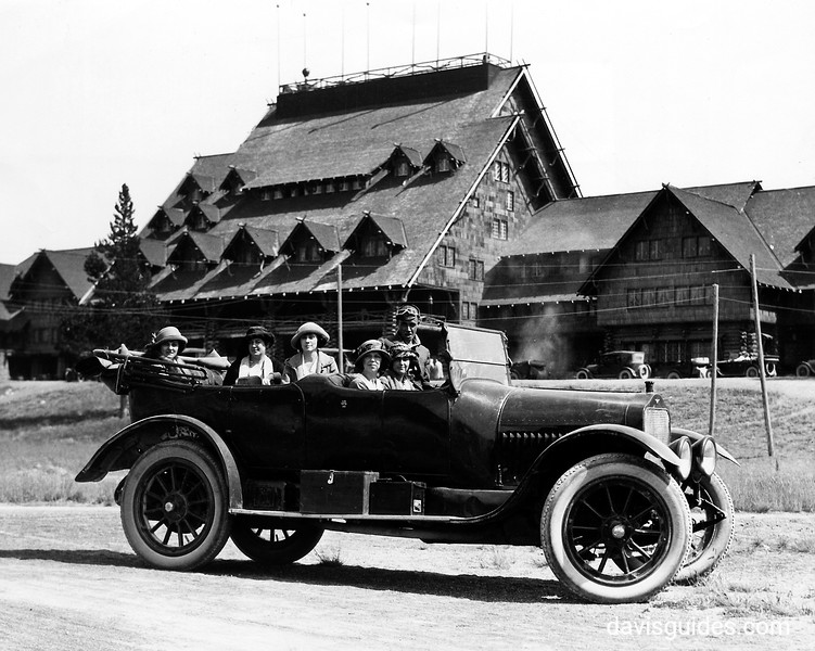 Women automobile tourists at Old Faithful Inn. Yellowstone National Park, 1922.