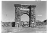 North entrance arch and checking station at Gardiner, Montana. Yellowstone National Park, 1939.