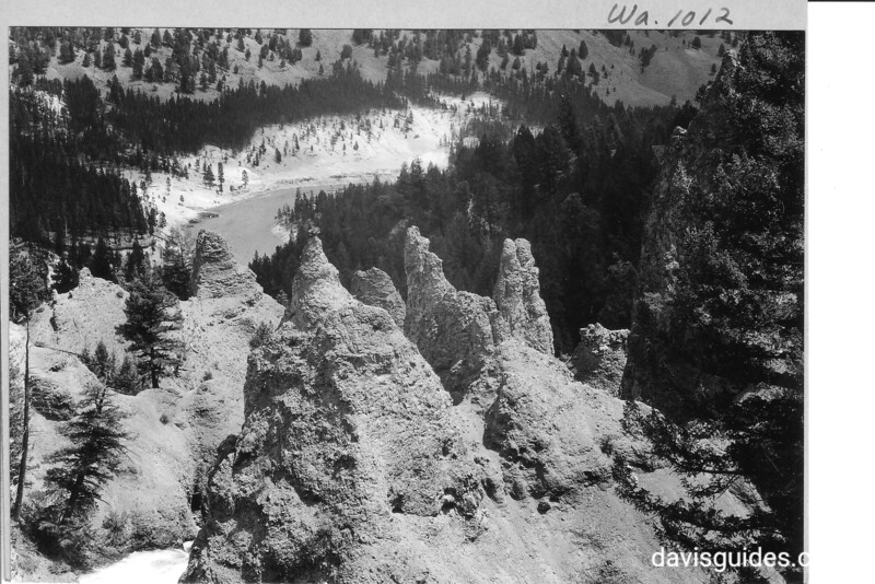 Pinnacles of volcanic braccia above Lower Falls of the Yellowstone River. Yellowstone National Park, 1933.