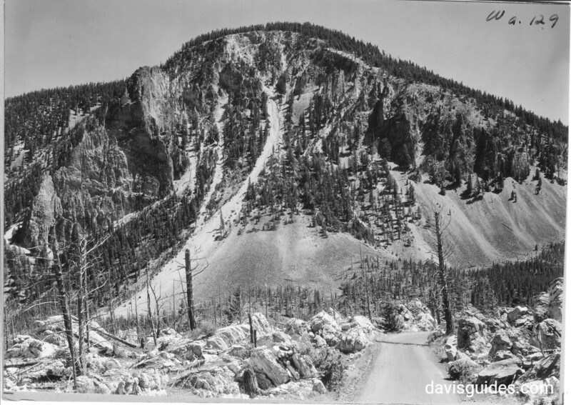 For a short stretch through Hoodoos. Bunsen Peak is directly ahead of us, giving us an intimate view of Decite Rocks and tables. Note the ghostly trunks of dead trees in Hoodoos. They were destroyed by fire. Yellowstone National Park, 1931.