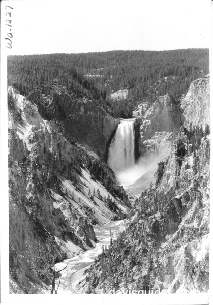 Vertical of the Grand Canyon of the Yellowstone River and Lower Falls from Artist's Point. Yellowstone National Park, 1936.
