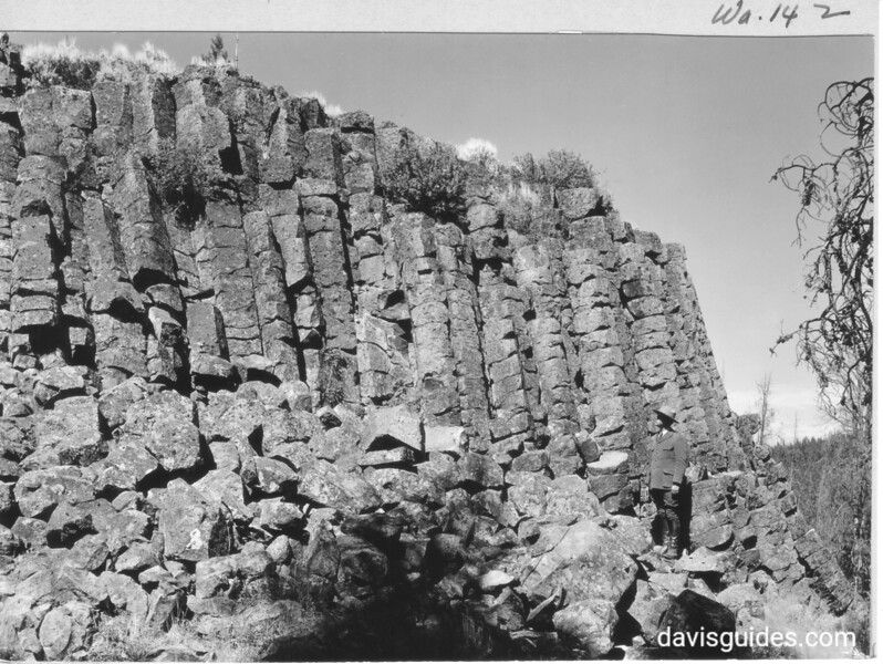 Columnar basalt cliffs near the junction of Gardiner River and Obsidian Creek. The columns supporting the roof of the Shrine at Obsidian Cliff were taken from this place. Yellowstone National Park, 1931.