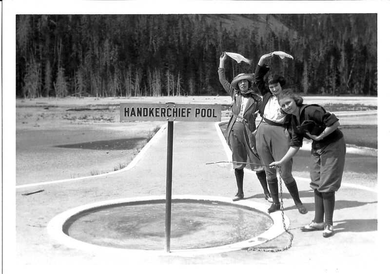 Tourists at Handkerchief Pool. Yellowstone National Park, 1922. Photograph reputedly taken by George Grant.