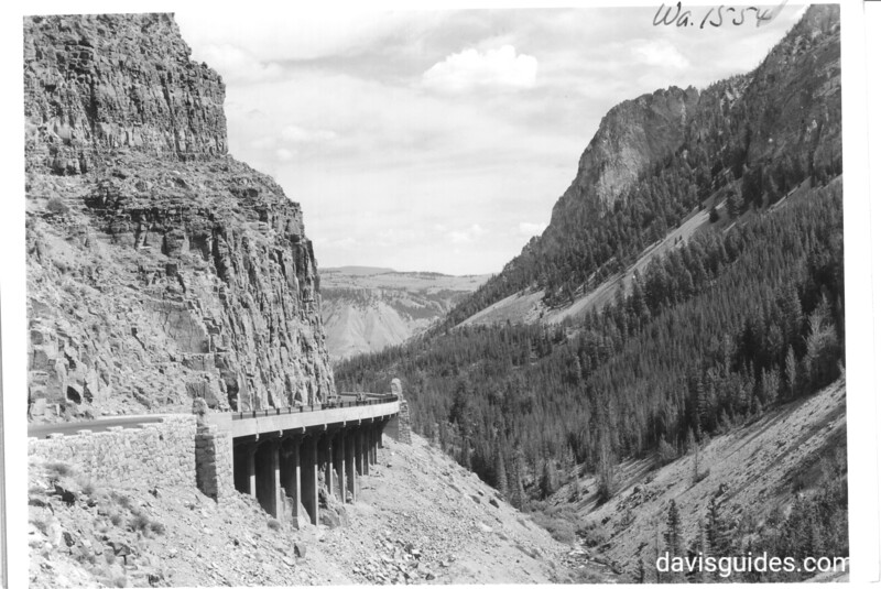 Golden Gate south of Mammoth Hot Springs on road to Norris Geyser Basin. Yellowstone National Park, 1939.