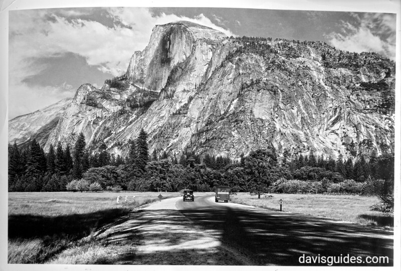 Half Dome from the crossroads of Camp Curry Road and South Side Road. Yosemite National Park, 1930.