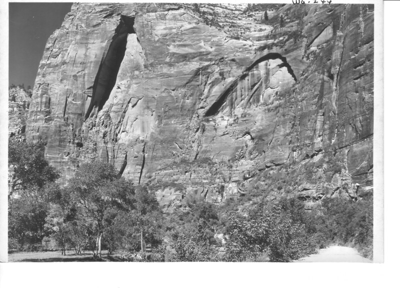 Gothic Arch and Round Top Arch. East wall of canyon just below Temple of Sinawava. Zion National Park, 1929.