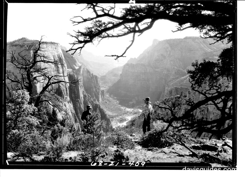 View of Zion Canyon from east of Observation Point. Zion National Park, 1929.