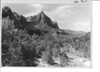The Watchman and the North Fork of the Virgin River from bridge at park headquarters. Zion National Park, 1935.