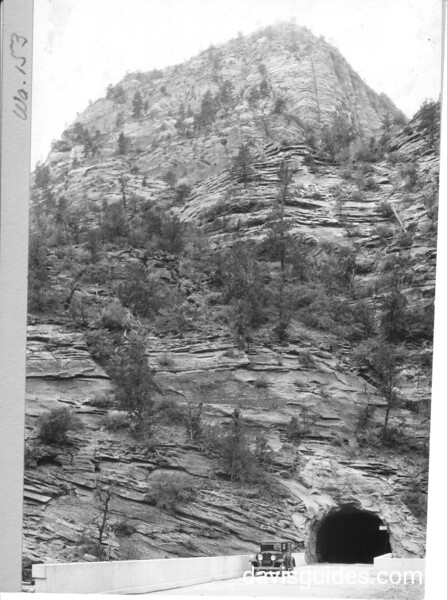 East portal of Zion Tunnel with approach bridge. Zion National Park, 1929.