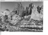 The rugged skyline along the west face of Kolob Cliffs between Horse Ranch Mountain and Timber Top. Timber Creek drainage  area rocks are rich, reddish brown. Zion National Park, 1935.