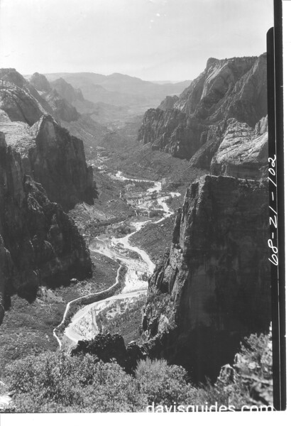 View into Zion Canyon and the Virgin River from Observation Point. Zion National Park, 1929.