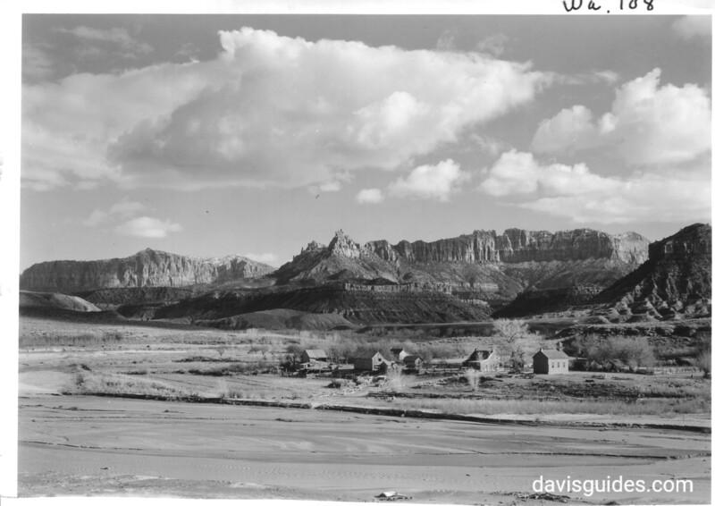 Mormon village of Grafton, Utah, on the Virgin River below the park. Zion National Park, 1941.